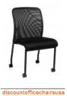 Armless Mesh Back Chair with Wheels